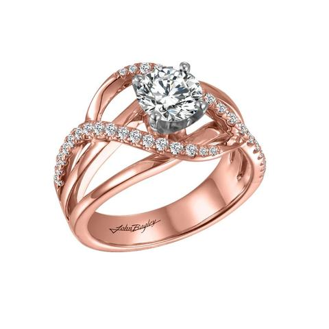 Elegant 14k Gold Engagement Ring with 34 diamonds