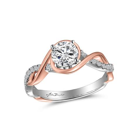 14k White & Rose Gold Engagement Ring with 24 accent diamonds