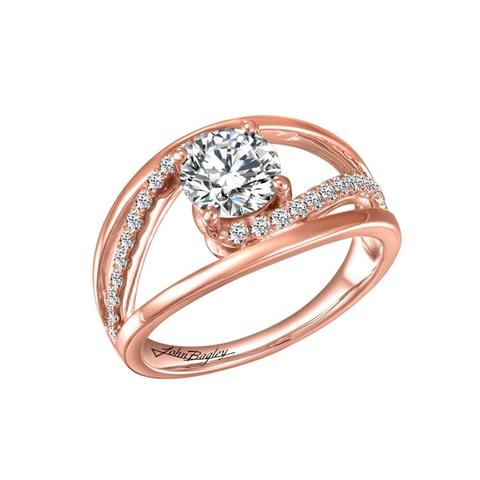 14k gold Engagement Ring accented with 26 diamonds