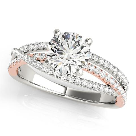 Multi-Row 14kt White and Rose Gold Engagement Ring