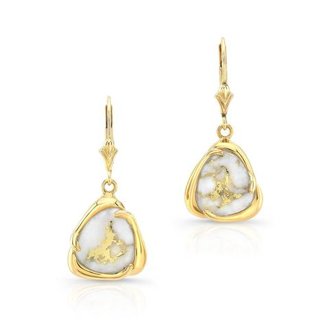 Gold and Quartz Drop Earrings