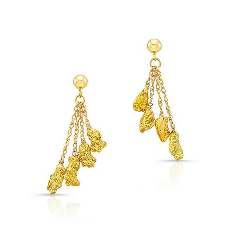 Gold Nugget Dangle Earrings