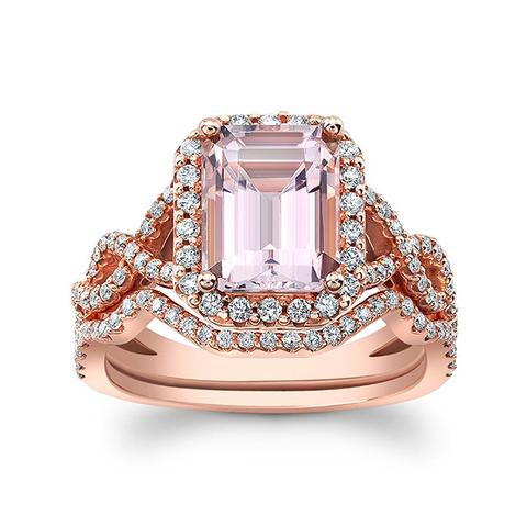 14k Rosegold Morganite and Diamond Engagement Ring