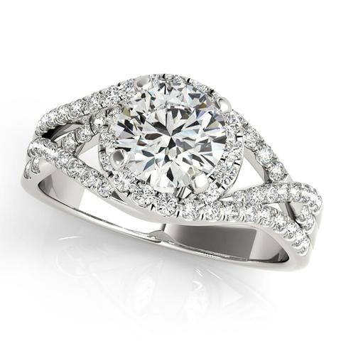 14K Round Halo Engagement Ring