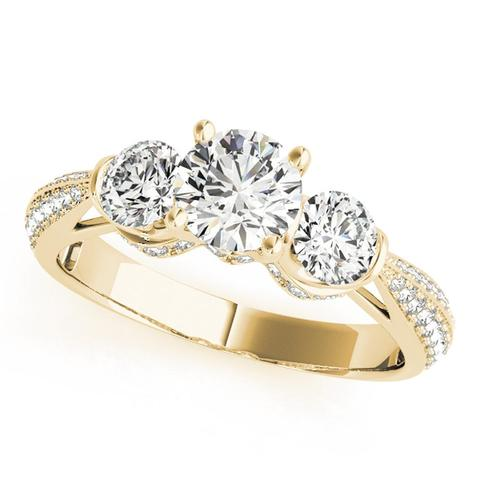 Multi-Stone 14k Engagement Ring - 50 side stones