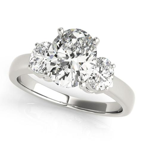 3-Stone Oval 1/2 Ct Diamond Engagement Ring