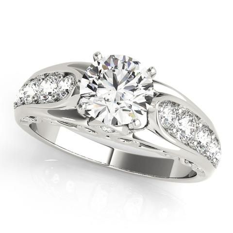 Single Row Prong Set Diamond Engagement Ring