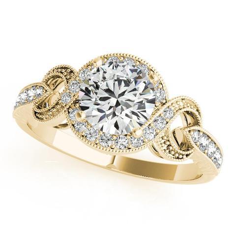 Round Halo 14K Diamond Engagement Ring