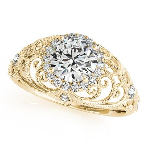 14K Gold Antique Style Engagement Ring