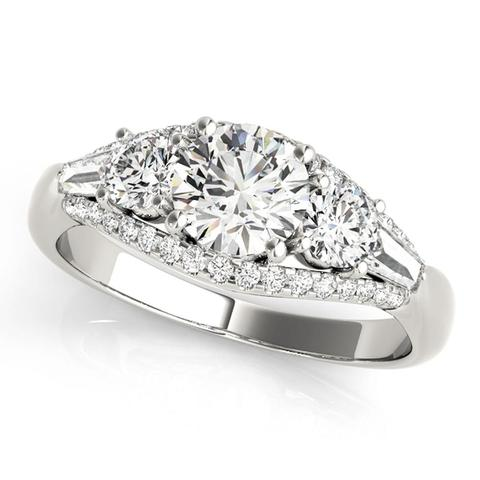 3-Stone 1 3/4 Ct Round Brilliant Diamond Engagement Ring1