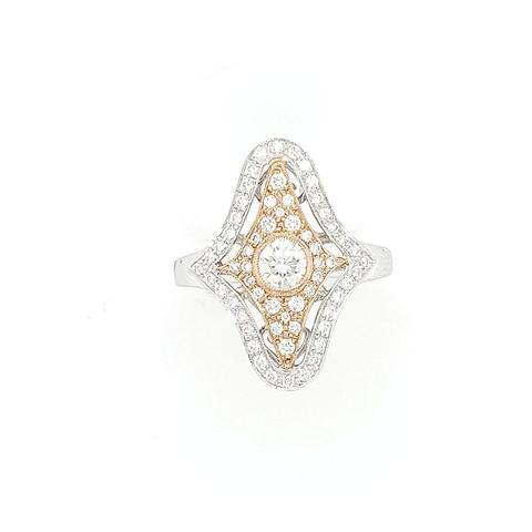 Vintage 18K white and rose gold ring