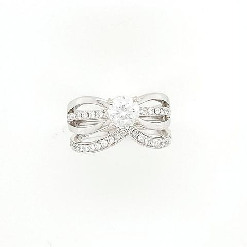 14K White gold and diamond wedding ring semi mount.