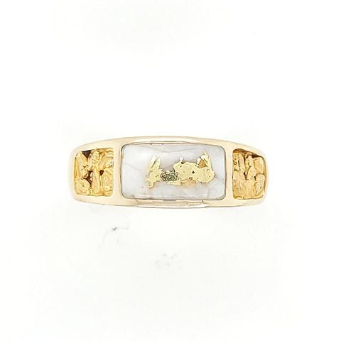 Gold and Quartz ring with natural nuggets set in 14K gold