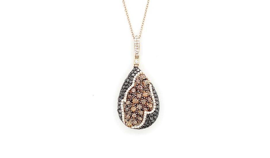 Rose Gold, Black and Champagne Pendant